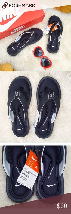"""[NWT] NIKE Comfort Footbed Flip Flop Sandals [BNIB] BRAND NEW IN BOX. """"Treat your feet to superior comfort with this casual, stylish sandal."""" Extremely comfortable, very soft but supportive footbed. Great for people with flat feet. Bought for an international trip but never ended up using them so it's time to find them a home who can appreciate them! :)  Size: 6W  🎉💸 Open to REASONABLE offers! 🔮👍 Feel free to ask questions! 🛍💐 Bundle for 20% off! Nike Shoes Sandals"""