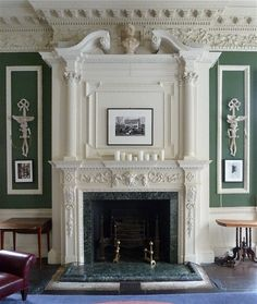 1 Greek Street, House of St. Barnabas, Soho, London, with plaster-work and decoration. Fireplace Mantle, Fireplace Surrounds, Fireplace Design, Classic Fireplace, European Home Decor, Marble Fireplaces, Interior Decorating, Interior Design, Classic Interior
