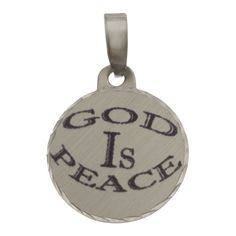 Simon Frank 'God IS Peace' Religous Charm Pendant (Rhodium/Round), Women's, Yellow