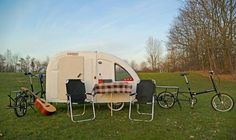 That's a Bicycle Camper. The Wide Path Camper makes bike tours way more cozy. Small Camper Trailers, Small Camping Trailer, Small Campers, Camping Trailers, Bike Trailers, Travel Trailers, Micro Campers, Mini Camper, Slide In Camper