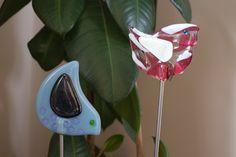 pot plant glass birds  for more designs;  http://www.sharoncherryglass.com