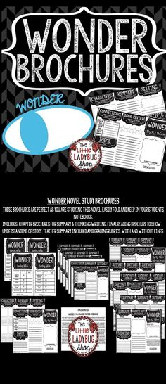 Wonder by: R.J. Palacio • Wonder Novel Study Brochures is perfect for your students to use as reading this wonderful book and show accountability for their reading. This book companion is perfect to use as a Read Aloud Book Study, Book Club Study, Independent Reading Activity or more. Just print and Go and let your students show accountability for their reading!