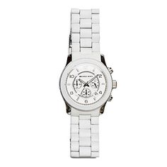 Midsize Chronograph Watch in White, $195, Michael Kors; 800/908-115