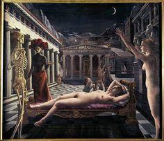 40-12-02/21 SURREALISM                                                       PAINTING                                                         20TH                                                               				  				  				Delvaux,Paul  				Sleeping Venus. Oil on canvas   				Tate Gallery, London, Great Britain
