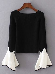 Bell Sleeve Contrasting Jumper - BLACK ONE SIZE