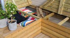 Praktisk putekasse på en helg - Byggmakker Garden Storage Bench, Bench With Storage, Garden Benches, Outdoor Steps, Outdoor Entertaining, Diy And Crafts, Home And Garden, Furniture, Home Decor