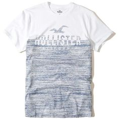 f4b5ff9e2 Hollister Logo Graphic Tee ($18) ❤ liked on Polyvore featuring men's  fashion, men's