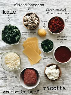 Grass-fed Beef, Kale and Mushroom Lasagna / Bev Cooks Ham And Cheese Croissant, No Boil Lasagna, Mushroom Lasagna, Yummy Recipes, Yummy Food, Fire Roasted Tomatoes, Grass Fed Beef, Casserole Dishes, Kale
