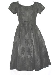 50'S VINTAGE SUZY PERETTE SHORT SLEEVES FIT & FLARE POUFED JACQUARD DRESS S #SUZYPERETTE