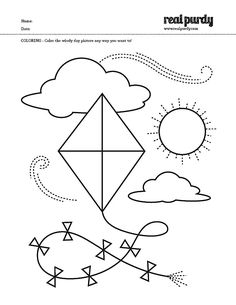 Kite Pattern Coloring Nuttin But Preschool Preschool