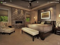 Master Bedroom - a little extreme but like the different textures with paint and stone, and the colors.