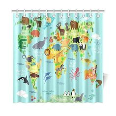 Kids Shower Curtain Decor Animal Map Of The World Ocean Mountains Forests Fabric Bathroom Set