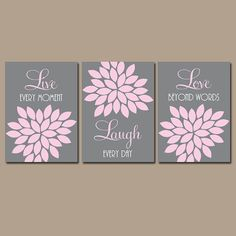 Live Laugh Love Wall Art Baby Girl Nursery Artwork by TRMdesign Coral Wall Art, Love Wall Art, Baby Wall Art, Baby Art, Girl Bedroom Walls, Bedroom Canvas, Canvas Wall Art, Baby Bedroom, Bedroom Art
