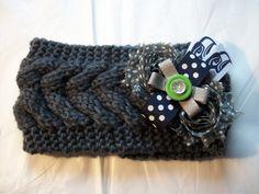 Women's Knit Polka Dot Head Ear Warmer Seattle Seahawks NFL Football Crochet Headband (18.00 USD) by BadCatCraft