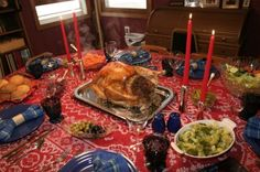A traditional Thanksgiving dinner.