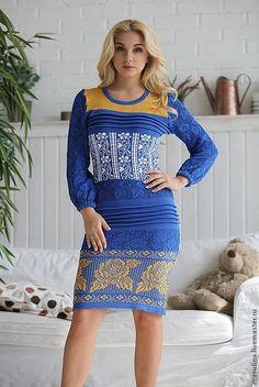 """Купить Платье """"Новая волна"""" - синий, Синее платье, Жаккардовый узор, жаккард, вязаное платье"""