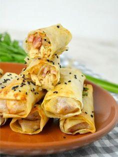 Cuuking! Recetas de cocina: Rollitos de pollo, queso y bacon ¡Una receta de ap...
