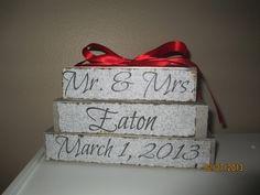 Wedding date blocks by Raesgifts on Etsy