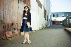 Wearing: PAPER London skirt, ASOS top, J.Crew cardigan, Zara pumps (old), GiGi New York clutch   A Navy Moment by Jen  Petite Lookbooks - Eshne