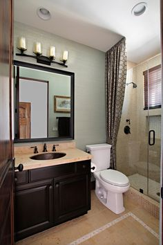 Bathroom. Marvelous Furnitures Interior For Guest Bath Ideas. Guest Btahroom Ideas With Dark Brown Wooden Bath Vaniti Buil In Undermount Sink And Cream Marble Countertop With Bathroom Vanities Ideas Also Decorating A Small Bathroom