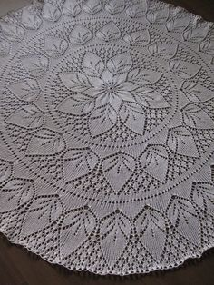 Knitted Crochet Lace Tablecloth 43 110cm Ecru by Sweetdoily