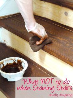 Here's what NOT to do when staining stairs in a staircase make-over - we learned the hard way so you don't have to. Part 2 of six in how to remove carpet from your stairs, repair and stain them. Staircase Make-Over Part 2 Mistakes to Avoid and How Redo Stairs, Basement Stairs, Stair Redo, Refinish Staircase, Basement Ideas, Staining Stairs, Stairs Repair, Home Renovation, Home Remodeling