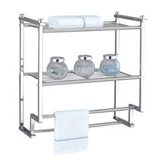 Two-tier wall rack in chrome with two wire metal storage shelves and two towel bars.   Product: Wall shelfConstruction M...