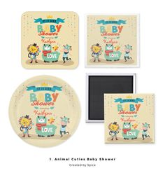 Modern theme features cute, fun neutral Baby Shower gifts with colorful little animals making music and celebrating. Bunting flags Llama too.