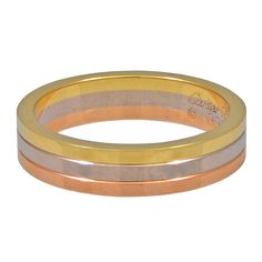 View this item and discover similar for sale at - Sleek CARTIER tri-color gold band. Jewelry Rings, Fine Jewelry, Jewellery, Engagement Bands, Antique Rings, Gold Bands, Wedding Bands, Wedding Ring, Band Rings
