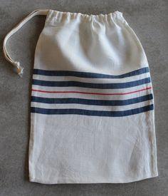 Striped Linen Bread Bag Natural Cotton Drawstring by minimarple