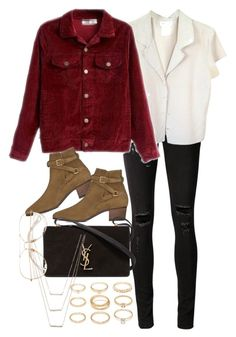 """""""Untitled #10151"""" by nikka-phillips ❤ liked on Polyvore featuring rag & bone/JEAN, Forever 21, agnès b., Yves Saint Laurent and ERTH"""