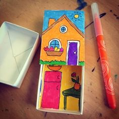 Little Matchbox Art. Inside and outside art drawn in marker. PDF template included. #matchboxart
