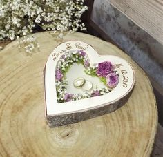 Wedding ring Pillow Heart Mille fleurs by name - Hochzeit - wedding details White Wedding Flowers, Bridal Flowers, Artificial Bridal Bouquets, Ring Pillows, Ring Pillow Wedding, Cushion Ring, Groom Boutonniere, Gypsophila, Wooden Rings