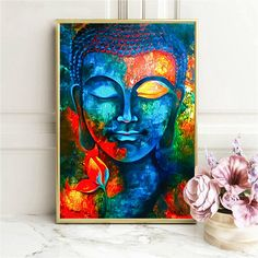 This eye-catching multicolored Buddha canvas poster is a stunning way to add color and a dramatic touch to your living room, entry way, office or yoga studio. Buddha Canvas, Buddha Wall Art, Buddha Painting, Buddha Artwork, Buddha Head, Abstract Canvas Wall Art, Canvas Art Prints, Canvas Oil Paintings, Modern Canvas Art