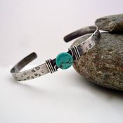 $80.00  Sterling Silver Cuff with Turquoise