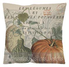 French Pillow 100% Cotton Canvas Burlap Vintage Pumpkin Gourd
