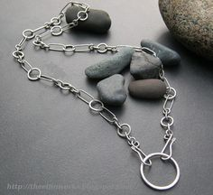 Sterling silver chain, thick handcrafted soldered links, heavy simple handmade chain, circular pendant, 22 inches long