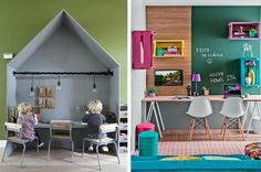 Follow our tips on how to make a creative studycorner in your kidsroom - furniture, walldecor, wallpaper, shelves, colours etc..