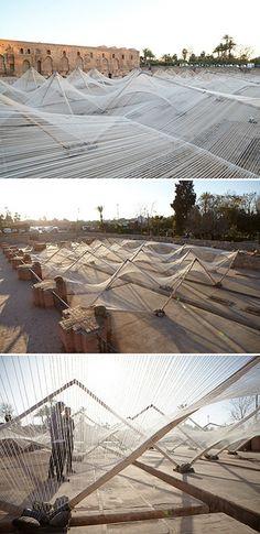 Loom Hyperbolic, an installation in Marrakech, by Barkow Leibinger     inst by {…