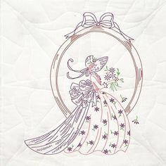 Lady Stamped Embroidery 18 Inch quilt blocks by Fairway Needlecraft Co.