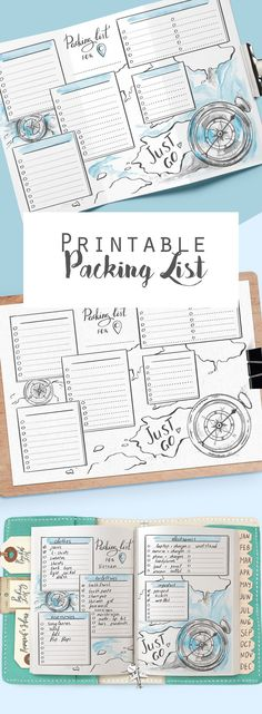 for and packliste Printable travel packing list for planner and travel journal Holiday or vacation checklist PDF insert page Packing planner Travel checklist Bullet Journal Voyage, Bullet Journal Travel, Bullet Journal Inspiration, Bullet Journal Packing List, Travel Journal Pages, Travel Journal Scrapbook, Journal List, Planner Journal, Bujo