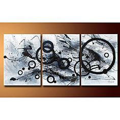 Hand-painted 'Abstract' 3-piece Gallery-wrapped Canvas Art Set.   maybe.... not sure if its big enough