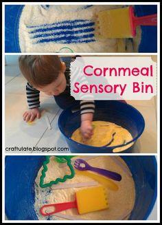 Craftulate: Cornmeal Sensory Bin DIY
