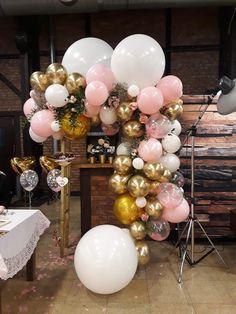 Girlanda z balonów - złoto różowe balony - Kraków Christening, Balloons, Wedding Planning, Party Ideas, Awesome, Diy, Globes, Bricolage, Balloon