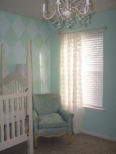 ruffle curtain in teal/white room Teal Nursery, Nursery Themes, Baby Penelope, Ruffle Curtains, Kids Rooms, Aunt, Chandeliers, Karma, Interior And Exterior