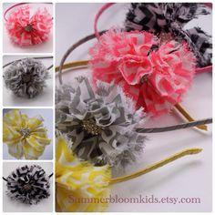 Chevron flowers metal headband kids hair accessories Easter hair accessories pink gray black yellow chevron flowers satin headband
