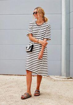 Cool striped t-shirt dress + Birkenstocks