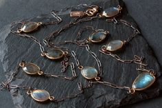 Long Labradorite Necklace- mixed metal.