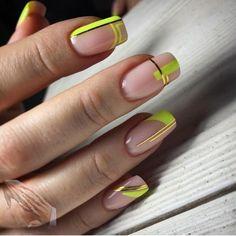 Diva Nails, Chic Nails, Stylish Nails, Red Gel Nails, Yellow Nails, French Manicure Nail Designs, Nail Manicure, Elegant Nails, Classy Nails