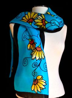 Hand painted vibrant golden yellow flowers on by FantasticPheasant, $45.00